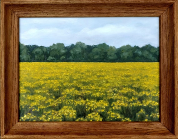 "Landscape of Yellow Flowers - Original Oil Painting - Contemporary Artist 12"" x 16"" Framed or Unframed"