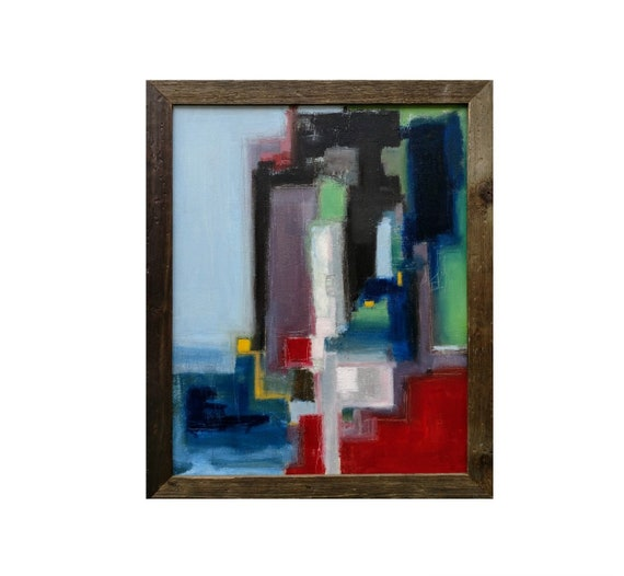 "Original Abstract Art - 16' x 20"" Expressionist Oil Painting Blue, Red, Green, Black, Gray, Yellow Framed Rustic Modern"
