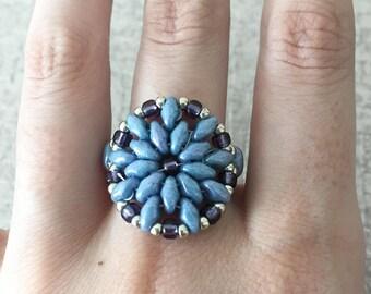Blue Beaded Ring