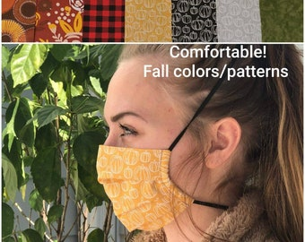 Reusable Cotton Face Mask, Comfortable Elastic Over The Back of the Head, Pleated With Nose Wire pocket and Filter Pocket, More Colors