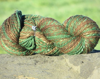 Handspun & Handpainted Merino Wool Yarn - 5 oz. 140 g., 220 yards, Forest (Green, Brown) - Bulky