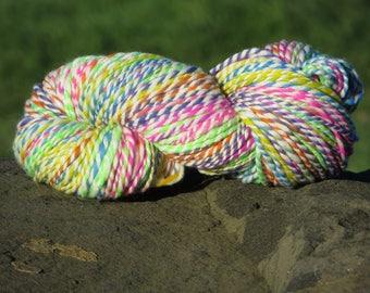 Handspun & Handpainted Merino Wool Yarn - Bright Winter Rainbow, Bulky, 4.5 oz., 135 g., 190 yards