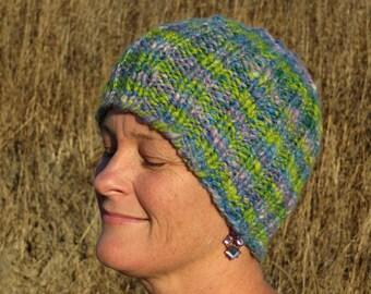 Beanie - Handspun, Handpainted & Hand Knit Hat - 50/50% Yak/Alpaca Blend - Thick and Warm - Spring Meadow