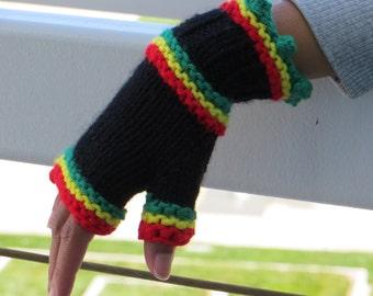 Rasta Fingerless Gloves, Wool & Acrylic, Hand Knit,