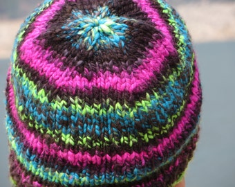 Handspun, Handpainted & Hand Knit Merino Wool Beanie - Thick and Warm - Northern Lights Too