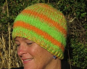 Handspun, Handpainted & Hand Knit Wool Beanie - Thick and Warm - California Poppy