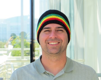 Rasta Snowboard or Ski Hat, Warm, Wool & Acrylic, Winter Beanie