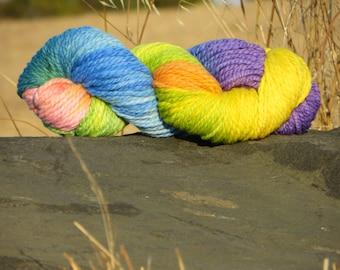 Handspun & Handpainted Merino Wool Yarn - Pastel Rainbow , Super Bulky, 5.5 oz., 160 g., 135 yards
