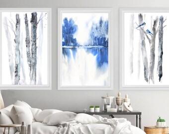 SET of  3 Prints 16x20, 18x24, 20x30 + other sizes Wall Art Set of 3 Prints, Blue Grey Landscape Print Watercolor Painting, White Grey Print