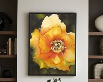 Yellow Wall Art, Yellow Flower Art Watercolor Print,Yellow Watercolor Artwork,Watercolor Painting,Rose Art,Yellow Decor,Rose Painting Floral