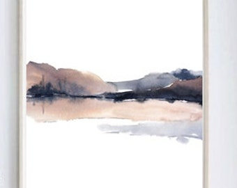 Scandi Print, Popular Art, Abstract Watercolor Art, Scandinavian Art, Simple Art Print, Poster Art Landscape, Wall Art Painting Brown Grey