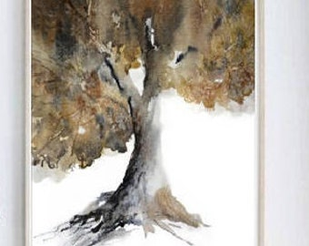 Tree Artwork, Tree Watercolor Print, Fall Colors, Brown Wall Art, Oak Tree Art, Oak Tree Print, Oak Tree Painting, Single, Giclee Fine Art