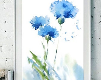 Cornflower Art Print Watercolor Painting, Blue Flower Art Abstract, Floral Watercolor Picture, Whimsical Art ,Blue Green White,Bedroom Decor