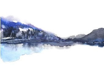 Landscape Painting, Watercolor Painting Print, Nature Print,Modern Landscape Print,Mountain Art,Blue and Grey Wall Decor,Lake, Masculine Art
