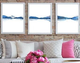 SET of 3 Prints 16x20, 18x24, 20x30 OR Custom Size Wall Art Set of 3 Prints, Blue Grey Landscape Print Watercolor Painting, White Grey Print