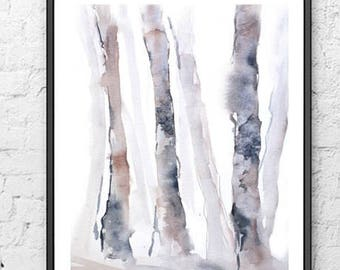Poster Type Watercolor Fine Art Print, Watercolor Painting,Brown Black White Grey Abstract Art Landscape, Birch Tree Print Watercolor,Modern