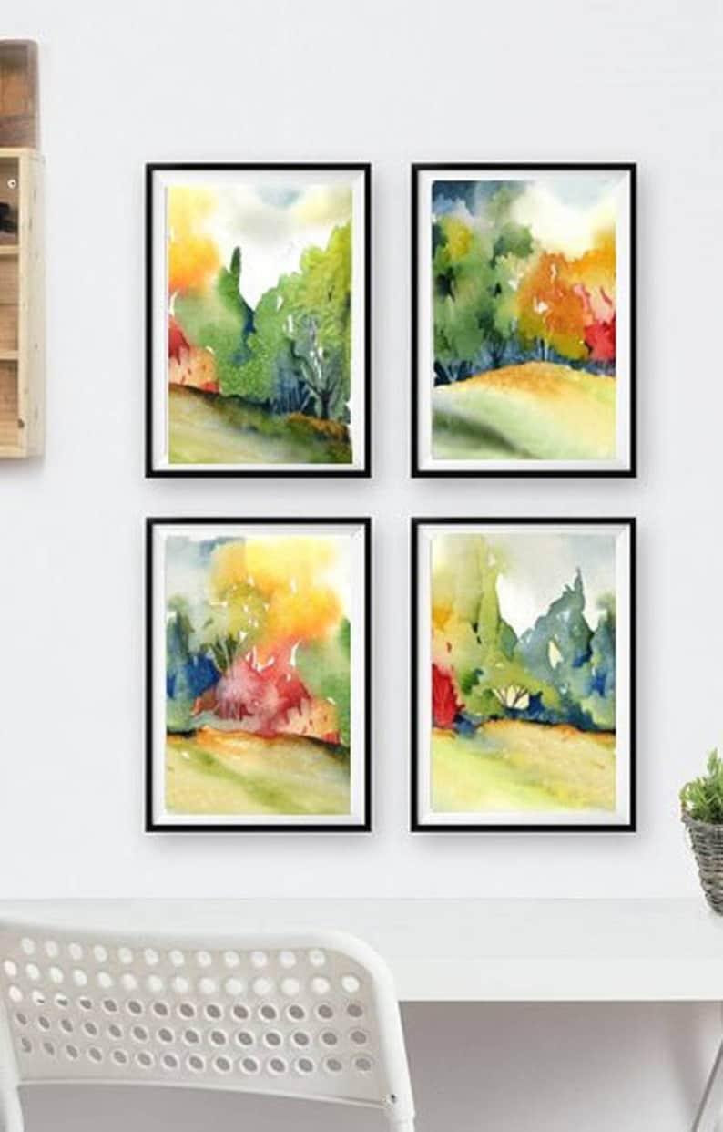 29375c87d8b 4 Print Set Watercolor Painting Landscapes Fall Colors Wall
