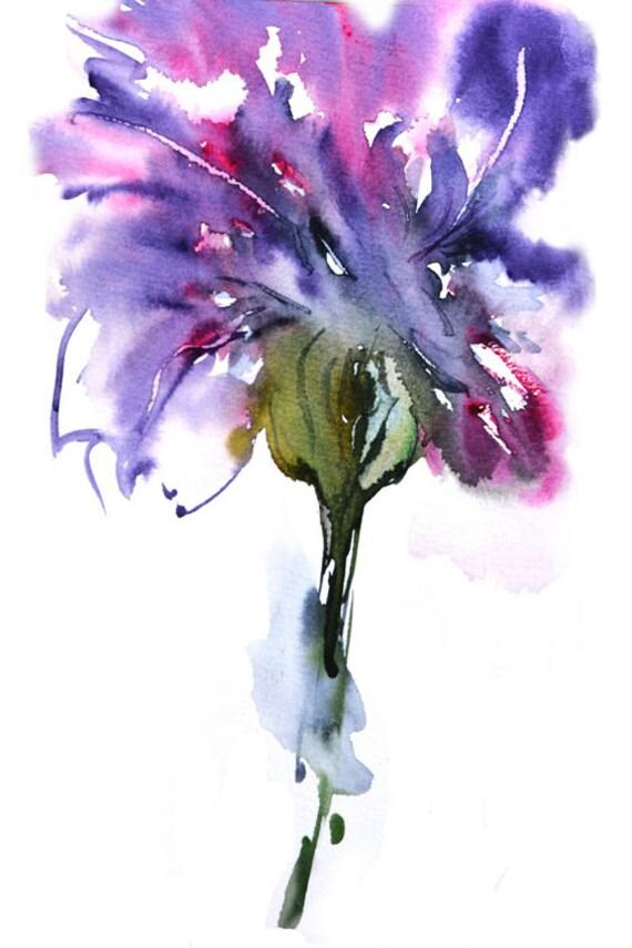 Abstract Watercolor Flower Print Modern Art