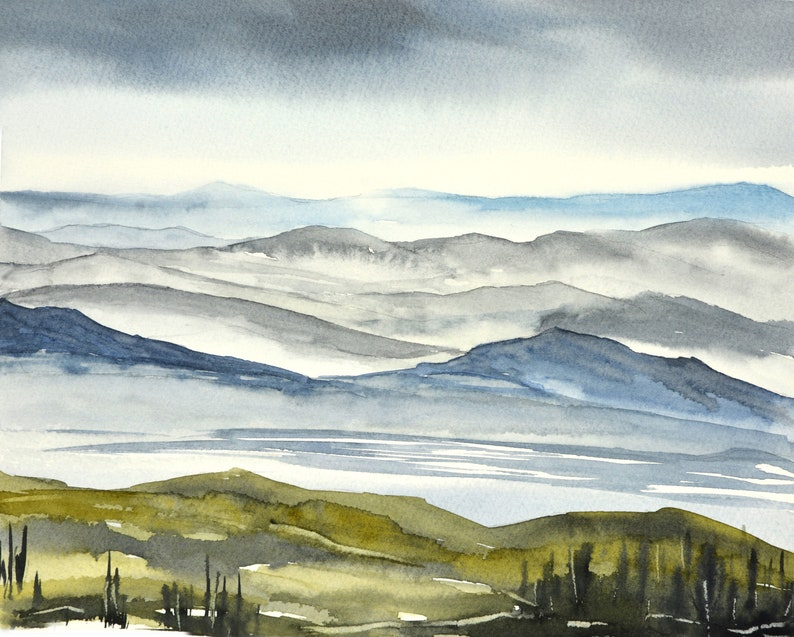 Foggy Mountain Print Storm Clouds Mountains in the Horizon image 0