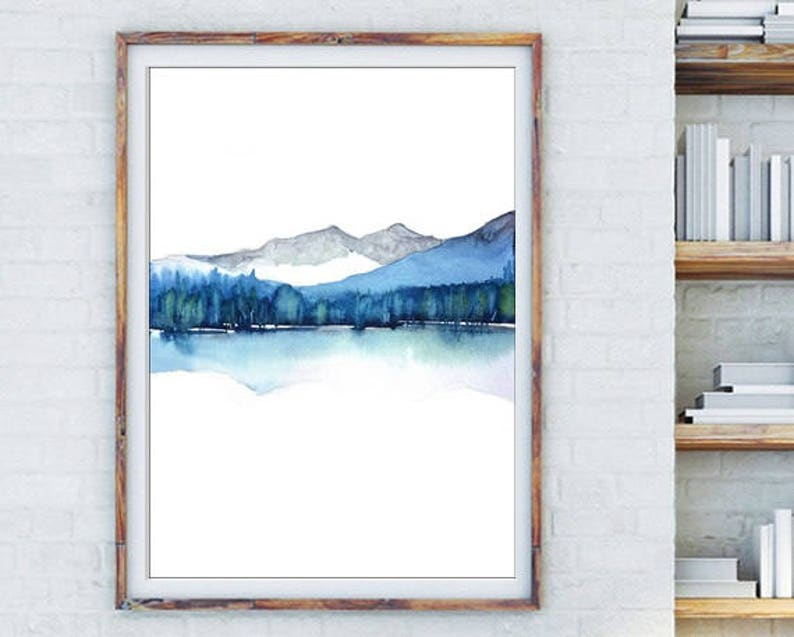 Watercolor Abstract Painting Print Art Landscape Modern