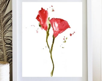 Red Rose Print,Flower Print Watercolor Painting,Flower Illustration, Single Rose Art Floral Painting,Rose Painting,Rose Petals, Red Wall Art