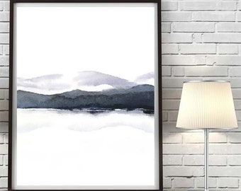 Black and White Painting Print, Grey Purple Landscape Painting,Watercolor Painting,Mountain Artwork, Grey White Wall Art,Masculine Art Print