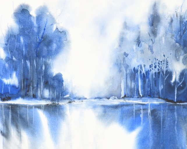 Blue Painting Landscape Monochromatic Abstract Giclee Print | Etsy
