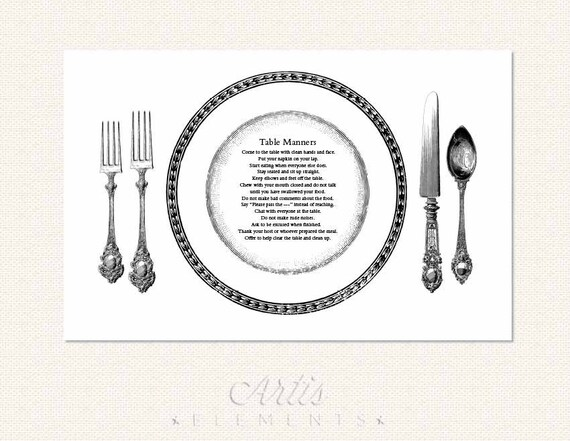 Table Manners Printable Placemat For Children Elegant Etsy