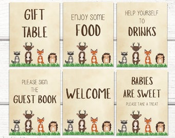 Baby Shower Signs- Woodland Animals Baby shower- 6 Table signs- Fox Baby shower- Animal Decorations- PRINTABLE INSTANT DOWNLOAD