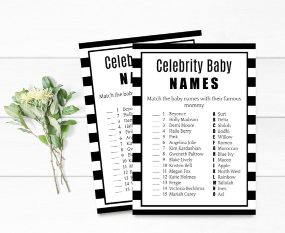Baby shower games, celebrity baby names, black and white, baby boy, baby  girl, neutral, baby shower, instant download, printable