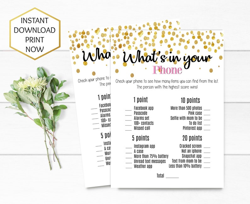 Baby Shower Whats in your Phone Game- Girl Baby Shower Game- Gold Baby  Shower- Printable Baby Shower games- INSTANT DOWNLOAD Printable