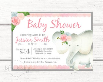 Baby Shower Invitations- Elephant Baby Shower Invitations- Elephant Baby Shower- Pink Elephant Baby Shower- Girl Elephant- A400
