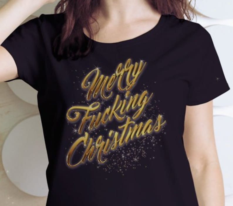 24afdba1 Merry Fing Christmas T-Shirt Funny Holiday Party Crew Neck | Etsy
