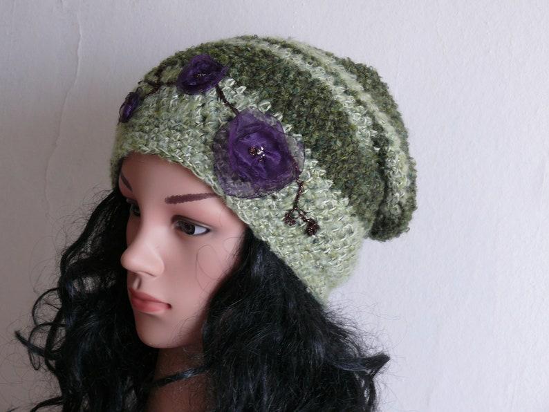 eec7d2d9857 Women Slouchy Hat Crochet Beanie Mohair Hat Best Slouchy
