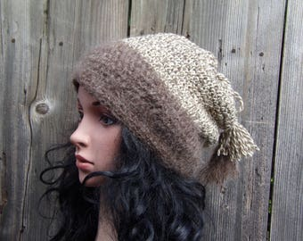 Wool & Mohair Slouchy Women Hat, Knit Beanie, Oversized Slouch Hat, Chunky Knit Hat, Grunge Beanie, Slouch Beanie Hat, Oversized Beanie