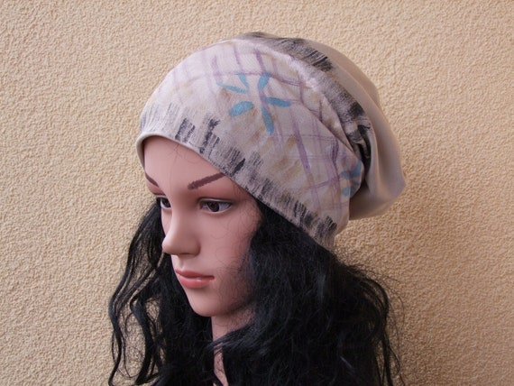 Women Slouchy Hat Hand Painted Cotton hat Stylish Chemo hat  9d2711c45f4