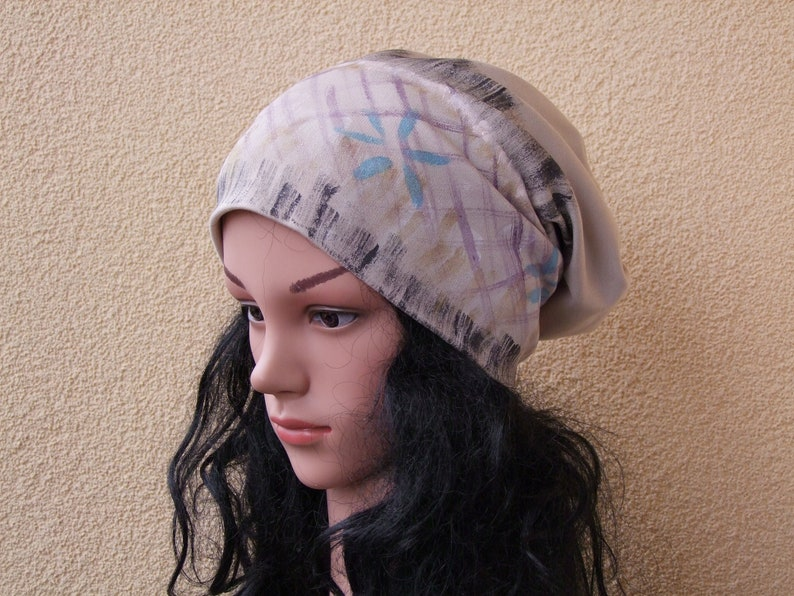 4f8faee4073 Women Slouchy Hat, Hand Painted Cotton hat, Stylish Chemo hat, Cancer hat,  Hats for Cancer Patients, Head Covering, Beanie Headwear