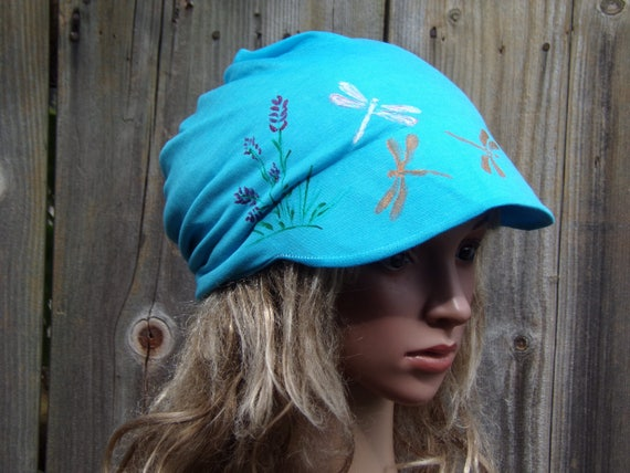 6b4fc0ff64e Newsboy Slouchy Hat With Visor  Cotton Beanie Hat Chemo Hats