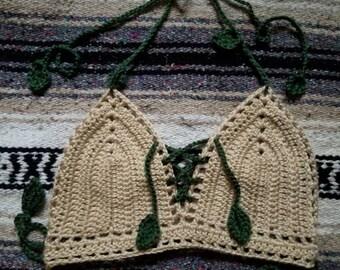 Leafy Fae Crochet Bikini Top / Halter Top / Festival Top / Bralette