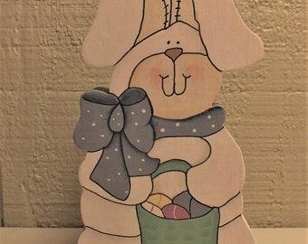Easter Bunny Shelf Sitter - Folk Art Painted Bunny - Wood Easter Bunny - Tole Painted White Rabbit - Shelf Sitter - Spring Decor