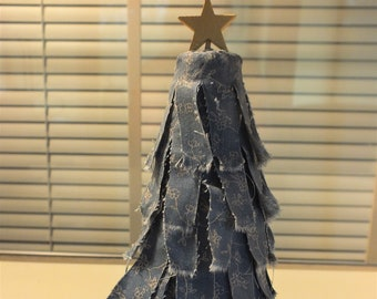 """7"""" Country Primitive Slate Blue Rag Strip Fabric Christmas Tree withStar"""