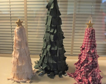 """12"""" Country Primitive Green Rag Strip Fabric Christmas Tree with Star"""