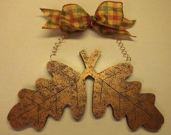 Copper Painted Wood Oak Leaves