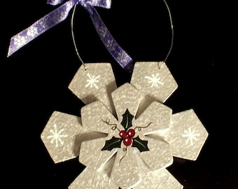 Festive Hand painted Silver Snowflake Ornament