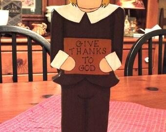 GIVE THANKS Pilgrim Figurine Large Folk Art Hand Painted on Wood