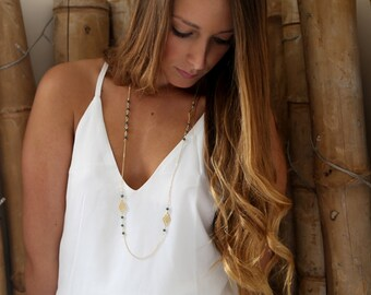 Gold Triangle Necklace, Gold Necklace, Dalicate Long Necklace, Delicate Necklace, Rosary Necklace