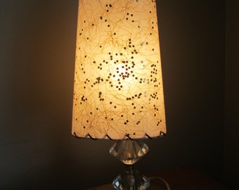 Atomic Floor Lamp Vintage Mid Century Modern with Gold Fleck Pebble Glass Shade