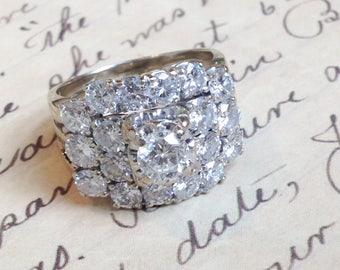 Vintage diamond ring. Vintage engagement ring. Large vintage diamond  cluster ring. Mid Century diamond ring. 78797796109f