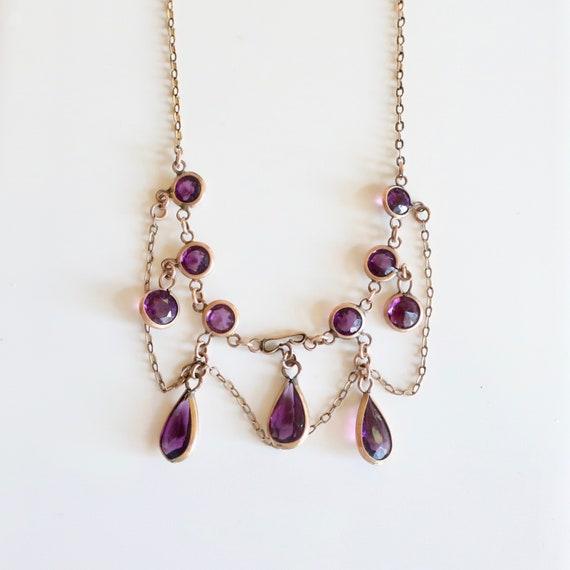 Antique amethyst paste necklace. Antique feston ne
