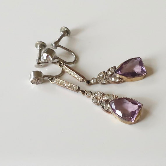 Antique Edwardian amethyst paste earrings. Antique